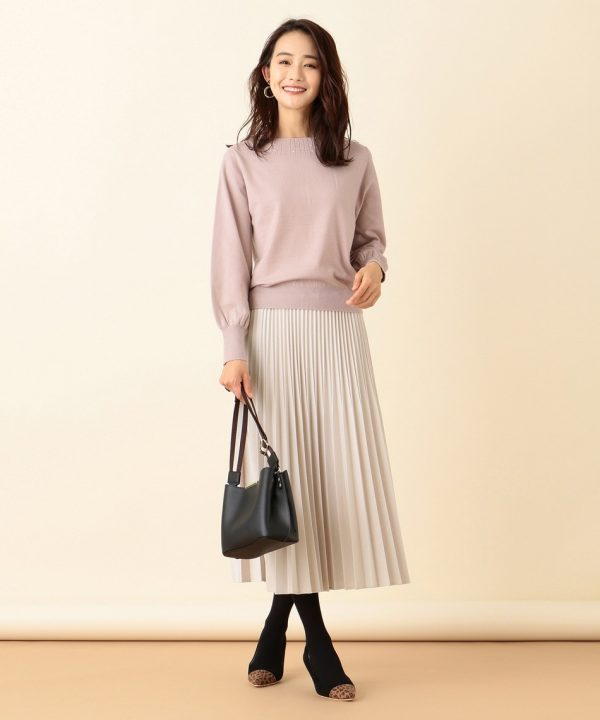 [any SiS] 【洗える】ニットジャガードプリーツ スカート