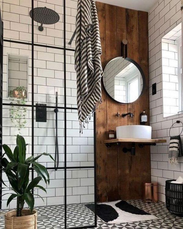 古板壁と丸形の鏡がコンビネーション抜群