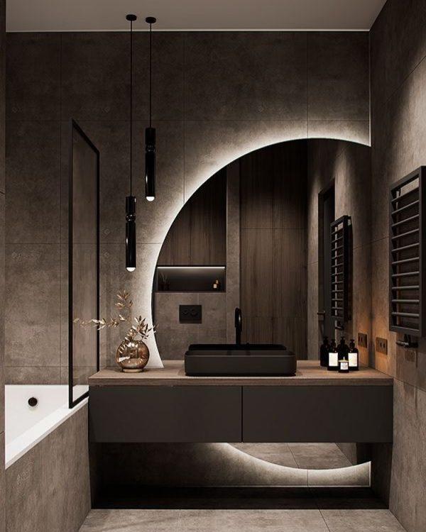 丸鏡&間接照明が幻想的なバスルーム