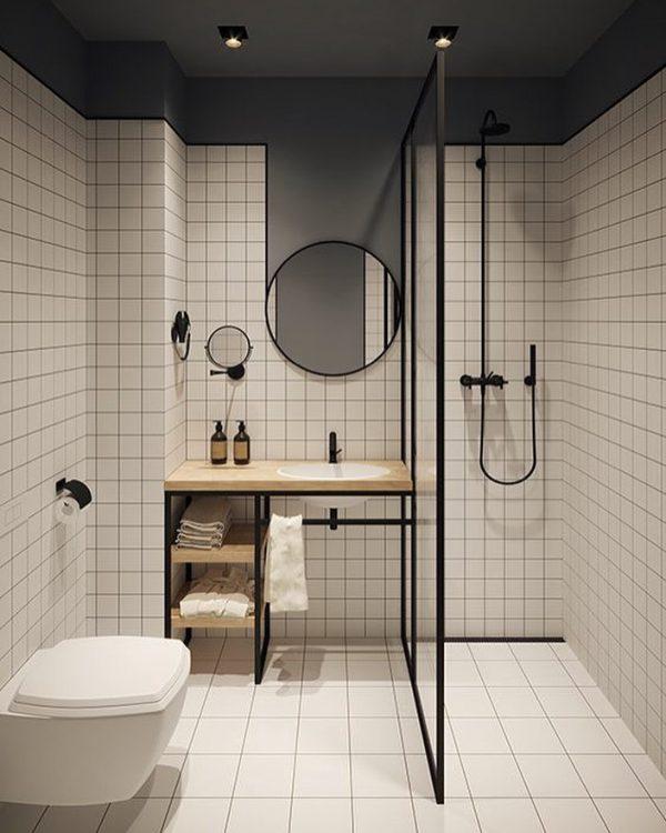 丸×四角のバランスがお洒落なバスルーム