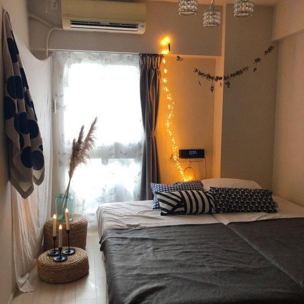 6畳にシングルベッド2台をレイアウトした寝室