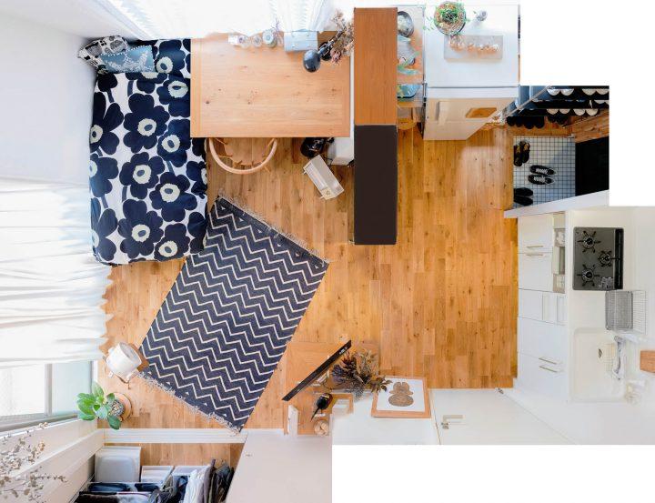 巧みな家具配置で使いこなすワンルーム