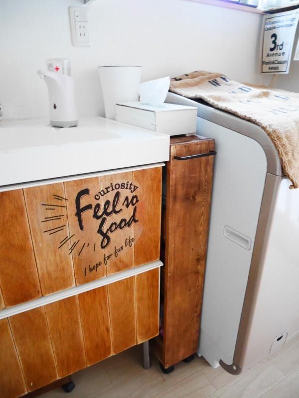 洗濯機横の収納アイデア6