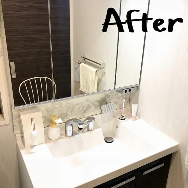 プラダンで洗面所の鏡にDIY