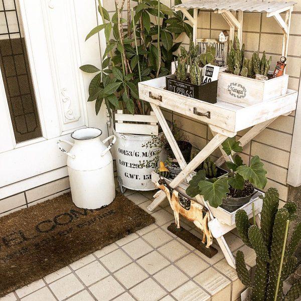 玄関周りに木製DIYガーデニング用の棚
