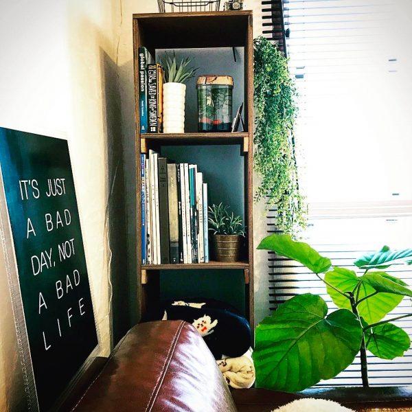 ニッチなスペースにDIYで背の高い本棚