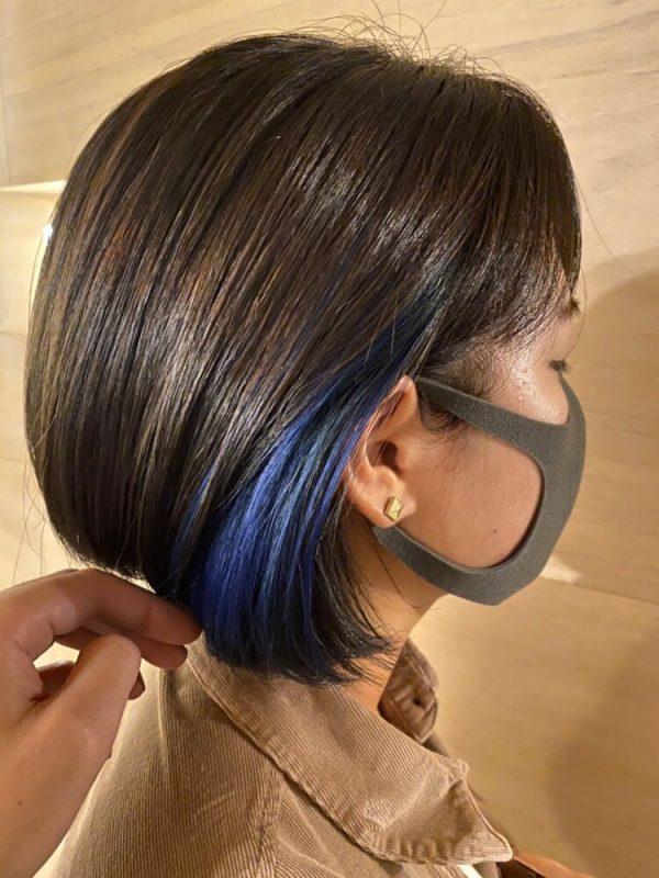 ブルーのインナーカラー×ダークブラウン