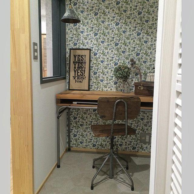 素材感が統一された3畳の書斎