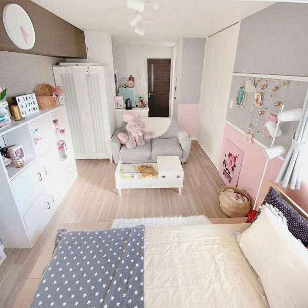 ピンク×グレーの大人女子向け一人暮らしの部屋