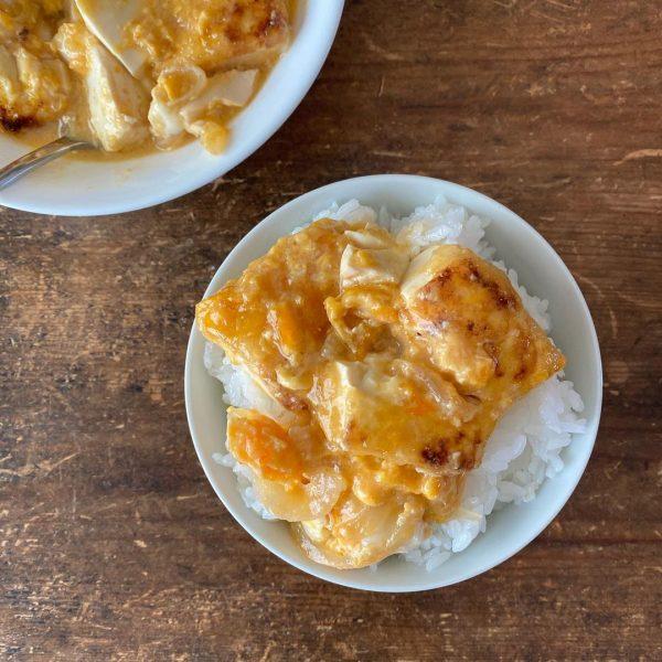 栄養満点レシピ!豆腐の甘酢卵とじ丼