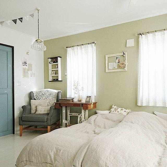 アースカラー インテリア 寝室2