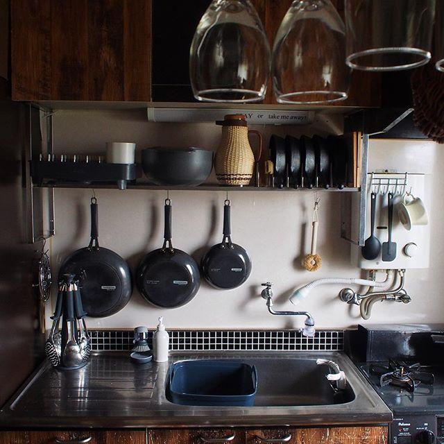 ブラックタイルでシンプル和モダンキッチン