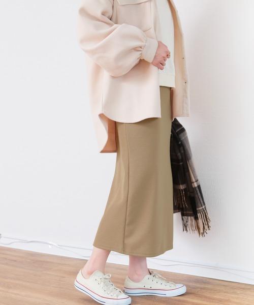 [reca] ◆低身長向け◆ウエストゴムバックスリット リブスカート