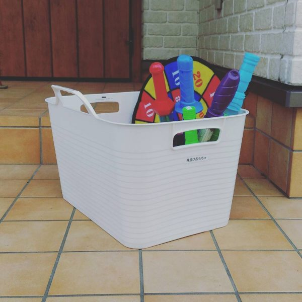 外遊び用洗える収納ケースも100均でGET