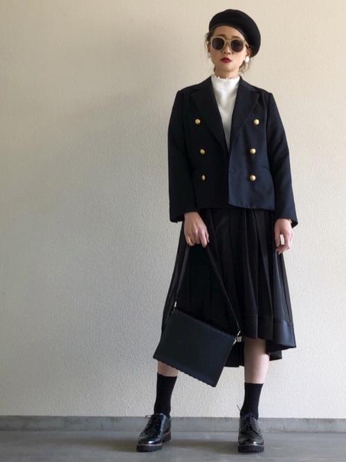 ユニクロハイネック×スカートの30代春コーデ