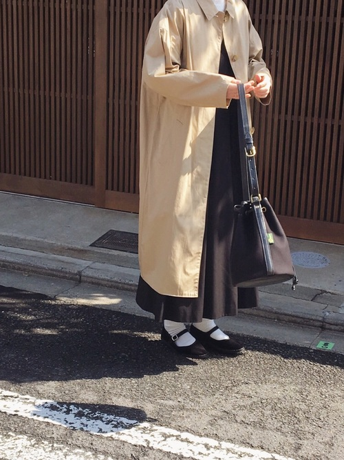 ジャンパースカート×ロングコート