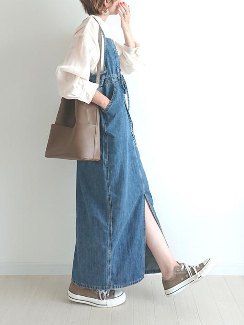 ジャンパースカート×シアーシャツ
