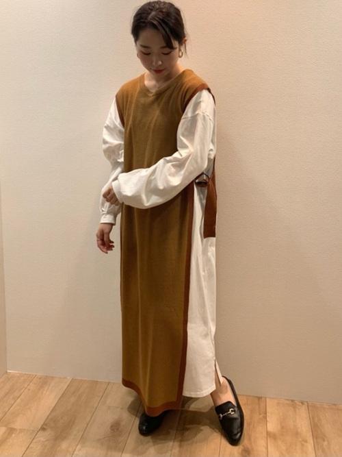 [Bou Jeloud] 【WEB限定】配色ニットロングベスト