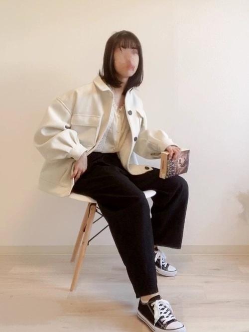 GUワイドパンツ×シャツジャケット