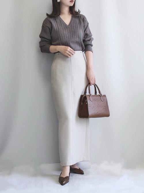 [IENA] ウール混ツイルロングタイトスカート【手洗い可能】◆