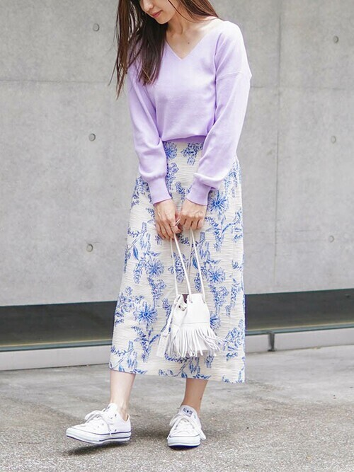[The Virgnia] フラワーカットジャガードタイトスカート
