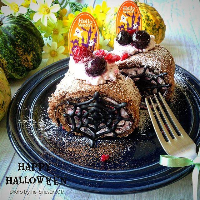 ハロウィンに!クモの巣ロールケーキ