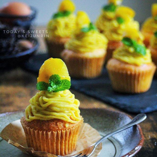 モンブラン風マロンクリームのカップケーキ