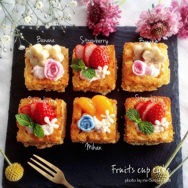 パッと華やか!人気の四角いカップケーキ