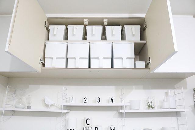 持ち手のついた取りやすい吊り戸棚収納