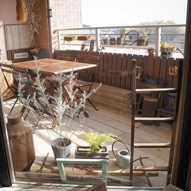 ベランダのカフェ風インテリア2