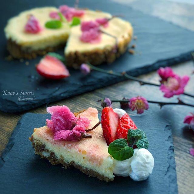 桜のベイクドチーズケーキ