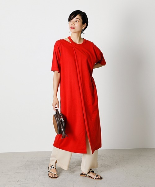 [AZUL BY MOUSSY] SLIT NECK ONEPIECE/スリットネックワンピース