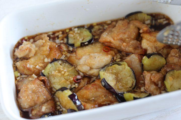 なすと鶏肉の揚げ焼きびたし丼 作り方7