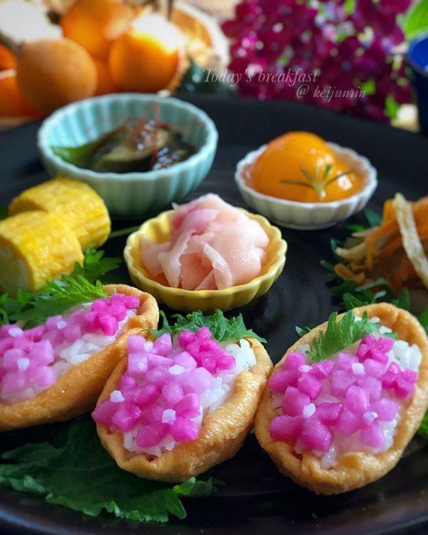 簡単で可愛い!変わり種の紫陽花いなり寿司