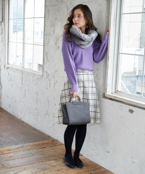 [ROPE' PICNIC] ウール混立体シャギーフレアスカート
