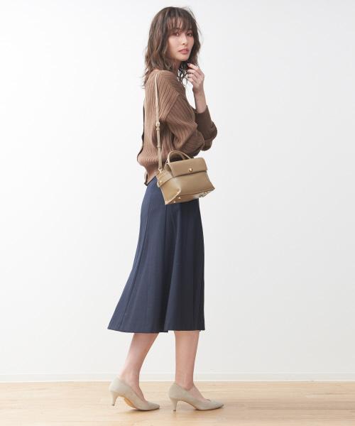 [Rouge vif la cle] サキソニーフレアスカート