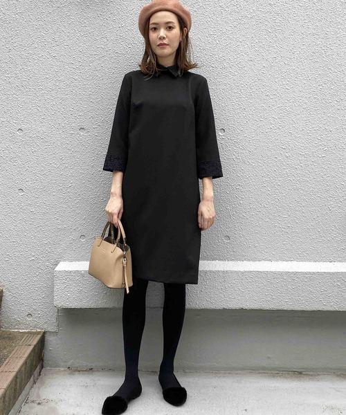 衿とカフスがクラシカルな印象の長袖ワンピ