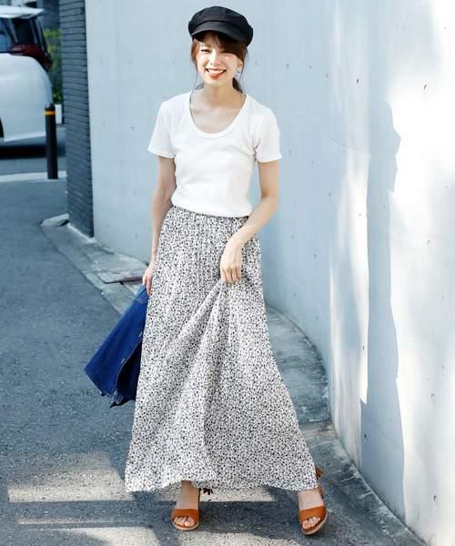 花柄 ロングプリーツスカート