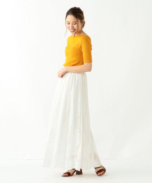 BEAMS WOMEN Demi-Luxe BEAMS 刺繍ロングスカート