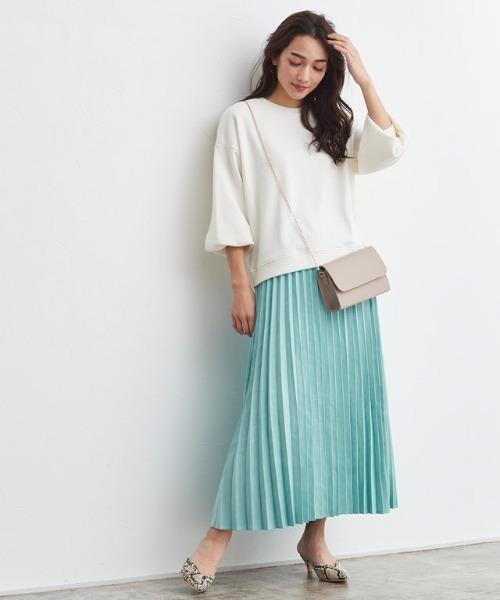 [Pierrot] スエードタッチロングプリーツスカート