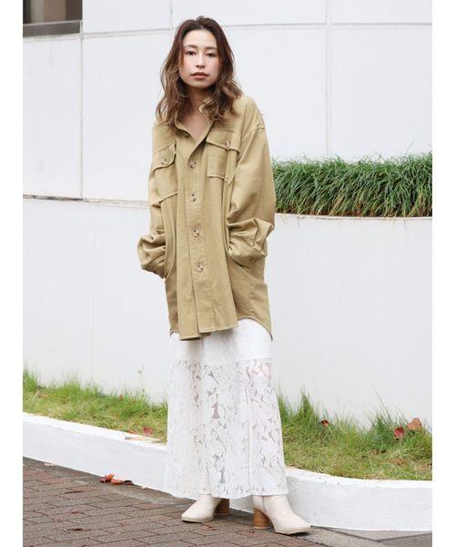 [Ungrid] スリットレースフィットスカート