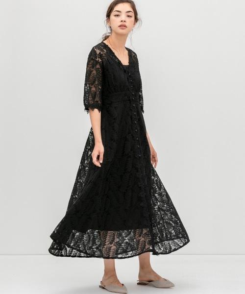 [smeralda] フロントボタンレースドレス