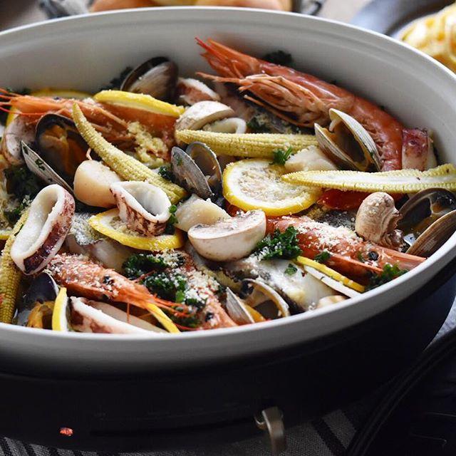 フレッシュパセリと魚介の簡単オイル蒸し