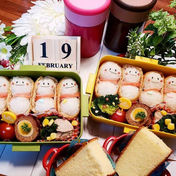 雪だるまが可愛い!いなり寿司のお弁当