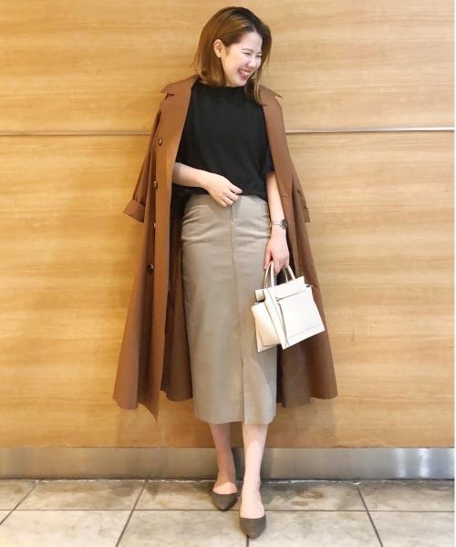 [RIVE DROITE] 《通勤用》人気No1スカート エコスウェードジップアップスカート (無地)
