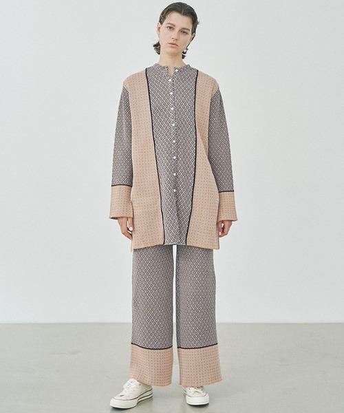 [STUDIOUS WOMENS] 【TAN(タン)】小紋ジャガードニットフレアパンツ