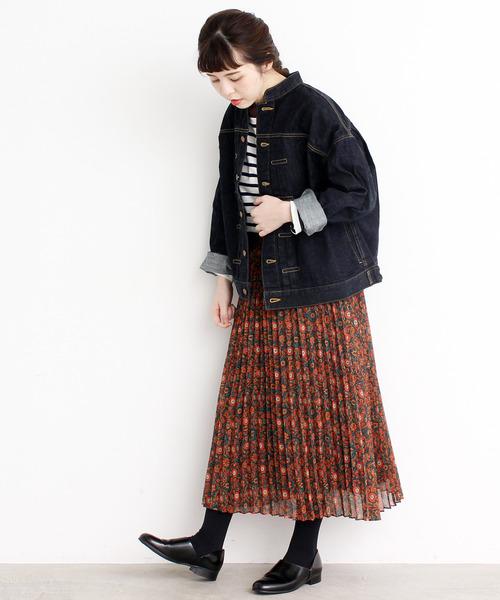 [Dot&Stripes CHILDWOMAN] ●エスニックプリント プリーツスカート