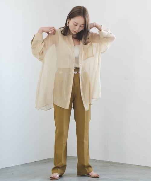 [Kastane] シャイニーシフォンビッグシャツ/シアーシャツ/透けシャツ