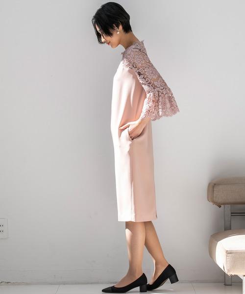 レースベルスリーブタイトドレス