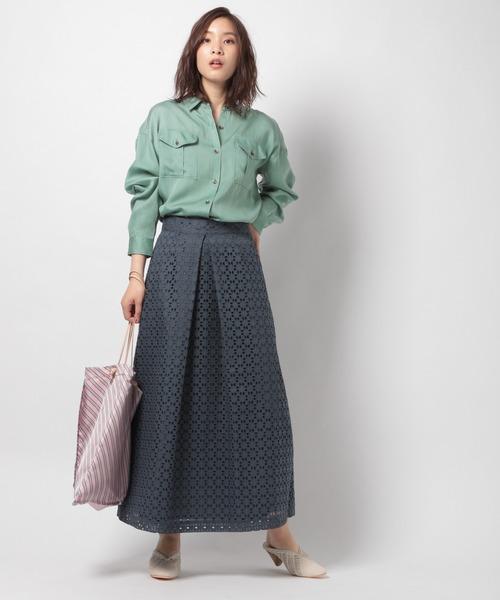 [BABYLONE] レースタックフレアスカート